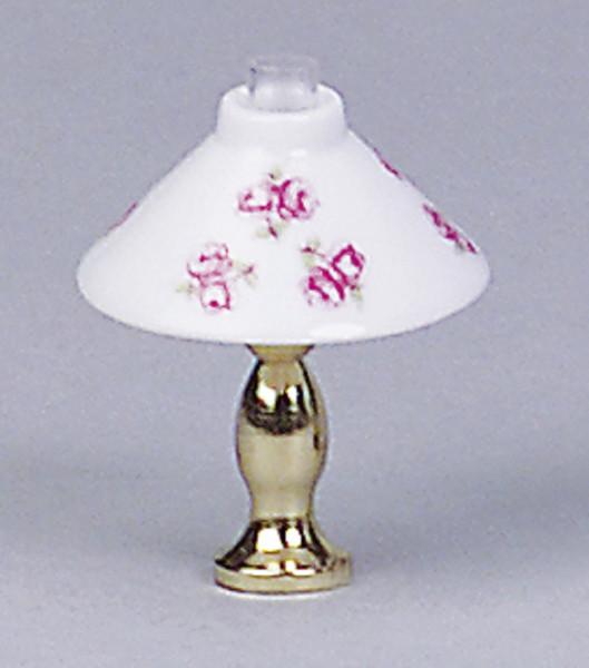 Puppenhaus Mini Tischlampe 3,5V mit Messingfuß mit Porzellanschirm