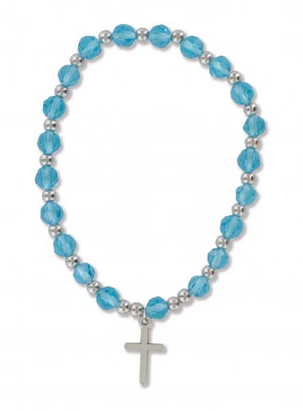 Armband aus Kunststoffperlen blau, mit Metallkreuz