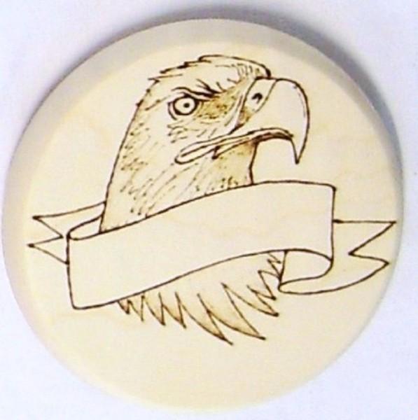 Bierdeckel aus Holz, Brandmalerei Adler und Wunschname