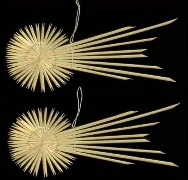 2 St. Strohsterne Komet 15cm, Christbaumschmuck Stroh