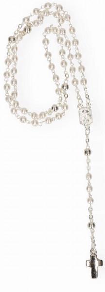 Rosenkranz gekettelt - weisse Glasperlen