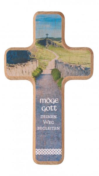 Holzkreuz - Möge Gott deinen Weg begleiten