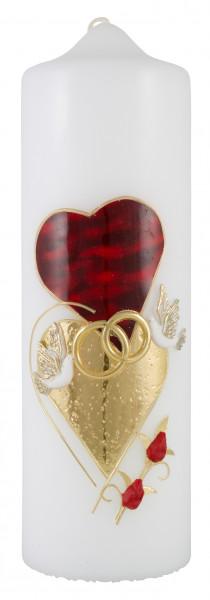 Hochzeitskerze, Kerze rot/gold Herzen-Taube Ringe
