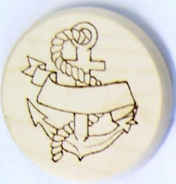 Bierdeckel Holz Brandmalerei Motiv Anker mit Wunschname