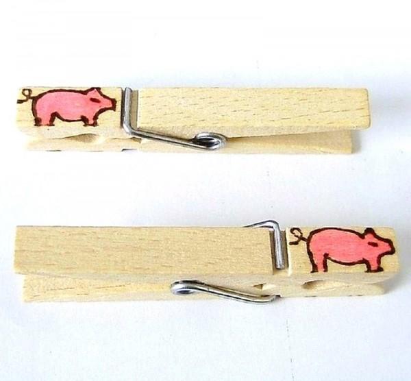 Holzklammer mit Motiv Schwein, beidseitig