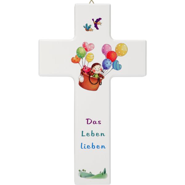 Kinderkreuz Holz zur Taufe-Geburt Das leben lieben