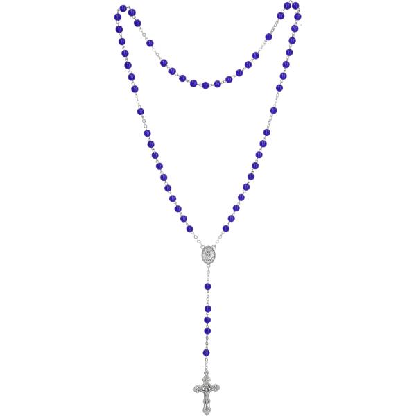 Rosenkranz lang - mit Glasperlen blau, gekettelt