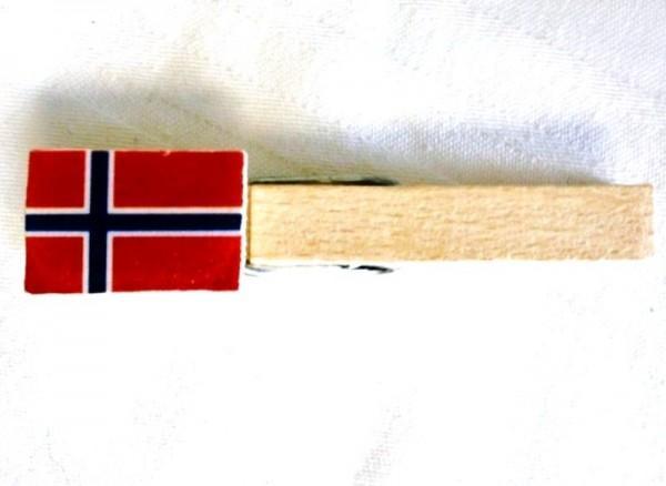 Holzklammer mit Flagge Norwegen, Holzapplikation