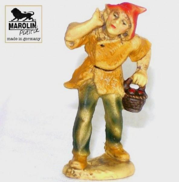 Hirt mit Korb Krippenfigur 7cm Kunststoff Marolin Plastik Figur