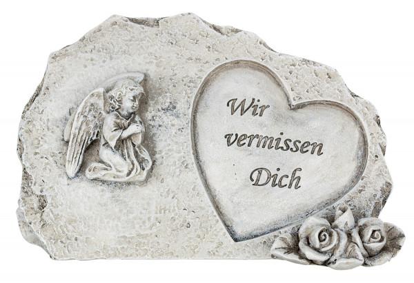 Stein mit Engel und Herz Wir vermissen Dich, 83/86