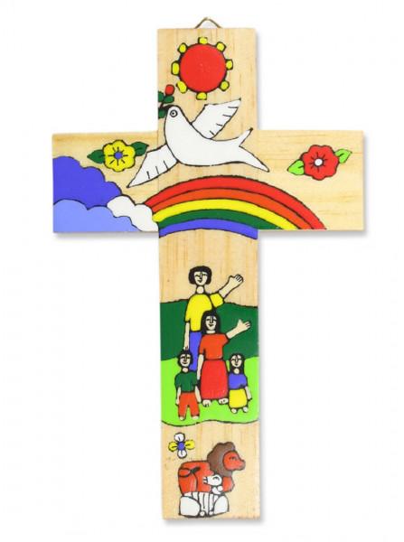 Kinderkreuz Holz, Motiv Regenbogen El Salvador