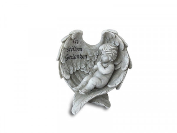 Engel in Flügel liegend Polyresin 14,5 x 11cm, 83/59