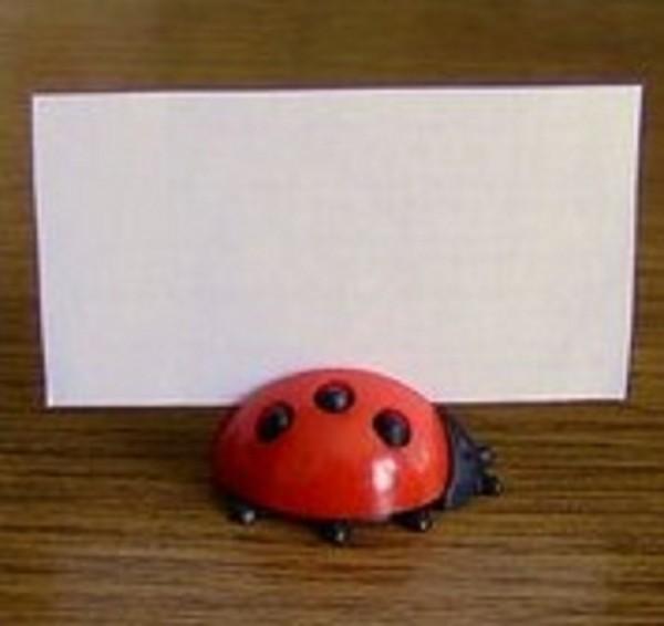 Tischkartenhalter, Marienkäfer aus Plastik
