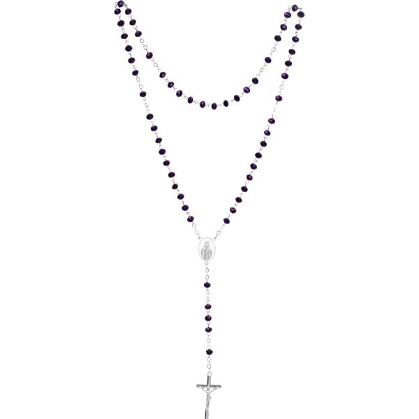 Rosenkranz lang - Glasperlen schwarz - gekettelt