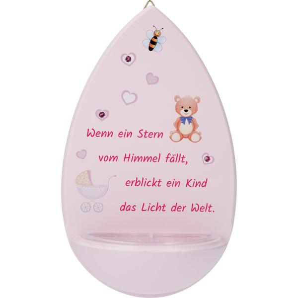 Weihwasserkessel Holz, Kristallsteinchen, rosa
