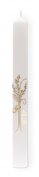 Hochzeitskerze Wachsmotiv Baum und Ringe Gold