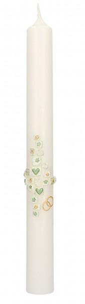 Hochzeitskerze Wachsmotiv Kreuz-Herzen, Blumen