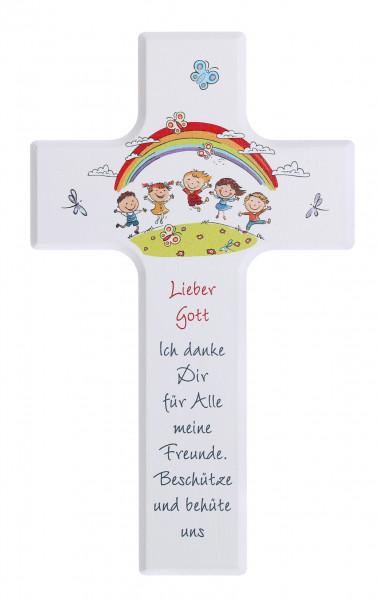 Kinderkreuz Holz Motiv weiß, Lieber Gott...