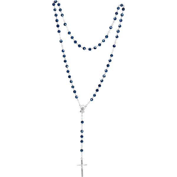 Rosenkranz lang - mit Glasperlen blau - gekettelt