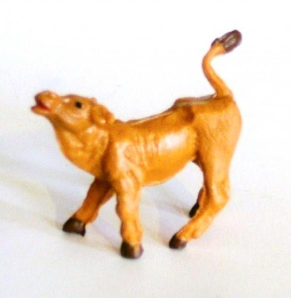 Kalb braun, Figur stehend, Bauernhof Tierfigur Plastik