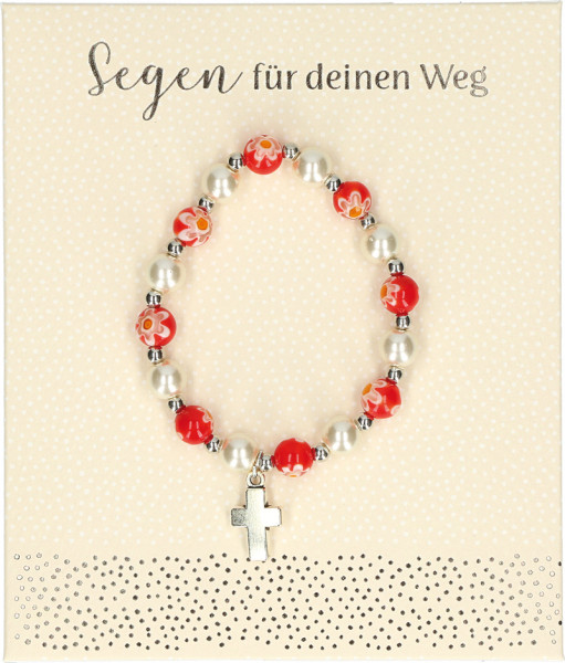 Stretch-Armband rote Perlen - Blumenmuster