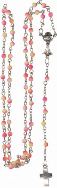 Rosenkranz gekettelt - gelb-orange Acrylglas-Perlen