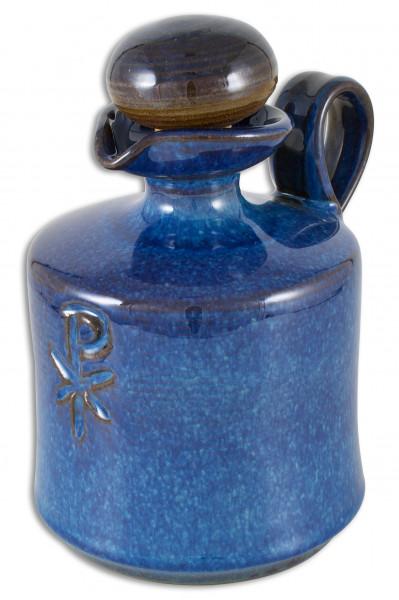 Weihwasserkrug Ton blau handgetöpfert 400ml