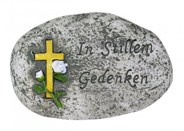 Grabschmuck, Stein mit Text In stillem Gedenken