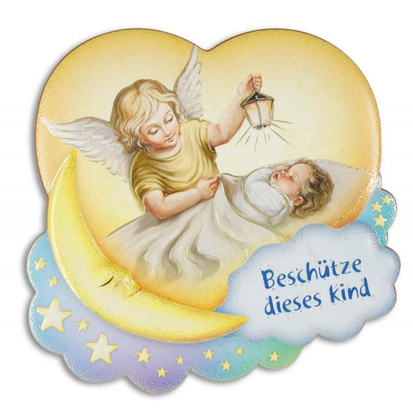 Engel-Bild Baby mit Engel auf Mond 10x9cm 79/178