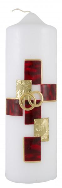 Hochzeitskerze, Kerze rot/gold Kreuz-Ringe
