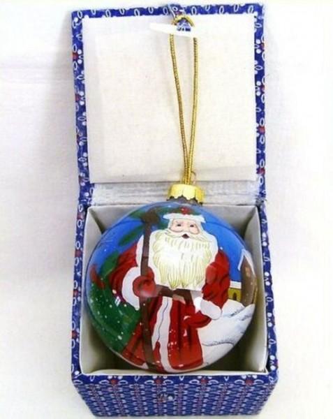 Glaskugel mit Box innen bemalt Weihnachtsmann