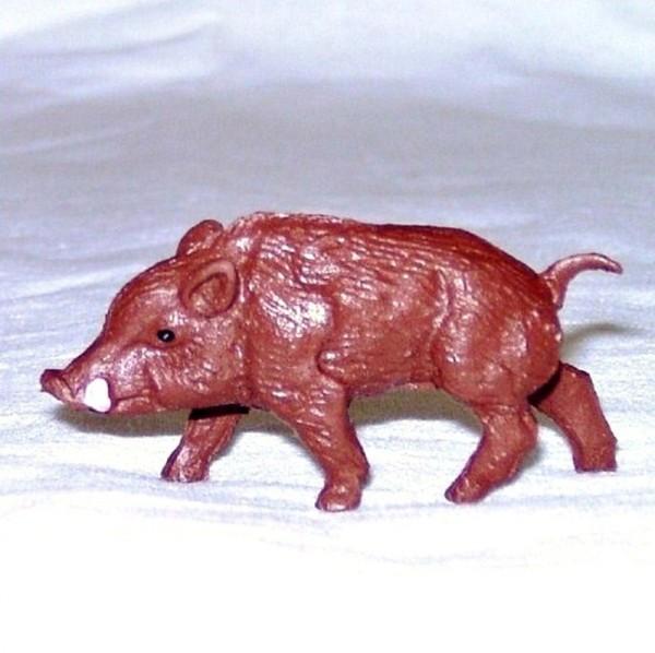 Tierfigur Wildschwein braun, Sammelfigur Plastik