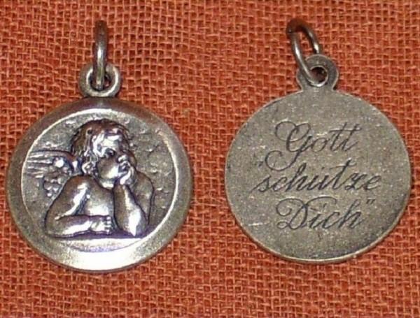 Schutzengel Anhänger aus Neusilber, Sixtinischer Engel