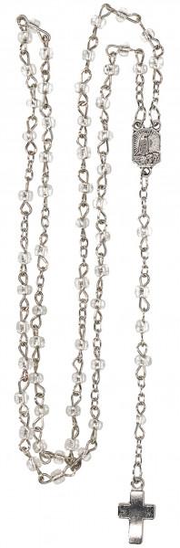 Rosenkranz gekettelt - mit transparenten Glasperlen