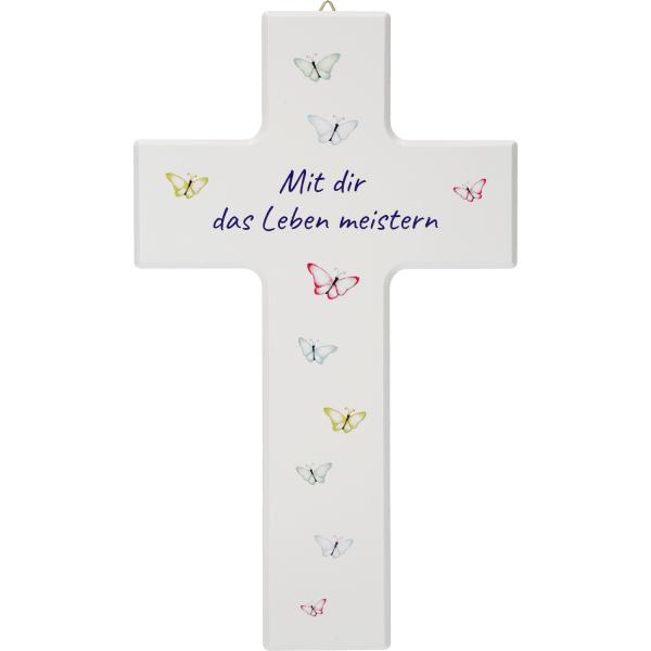 Kinderkreuz Holz, weiß, Motiv Schmetterling Mit dir