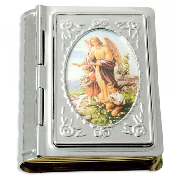 Metalletui Buchform mit Bild Schutzengel 5x4cm