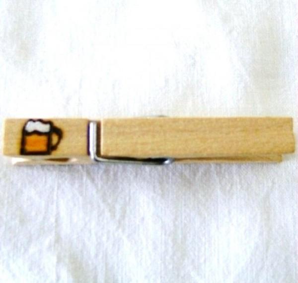 Wiesnglupperl Holzklammer mit Motiv Bierkrug, einseitig