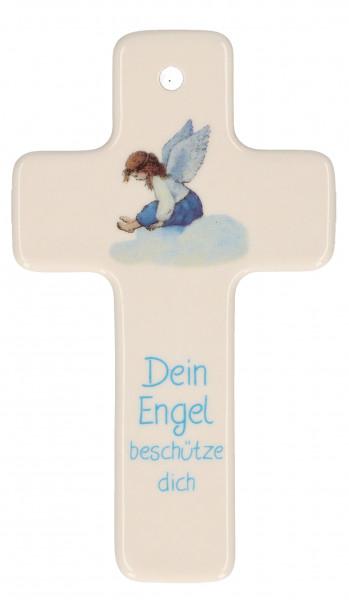 Kreuz aus Porzellan - Dein Engel beschütze dich