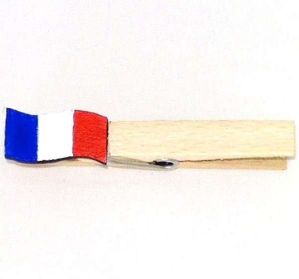Holzklammer mit Flagge, Fahne Frankreich, Holzapplikation