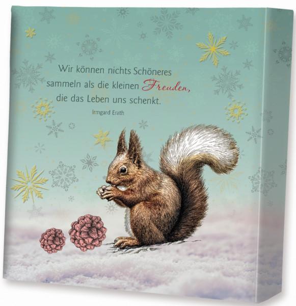 Leinwandbild Winterzeit - mit Eichhörnchen