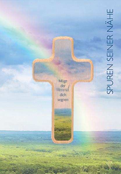 Klappkarte mit Holzkreuz - möge der Himmel dich segnen
