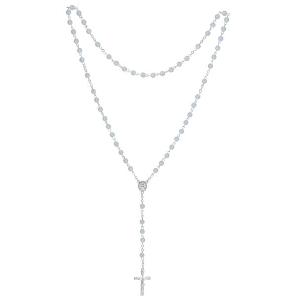 Rosenkranz lang - Lithopal-Perlen hellblau, gekettelt