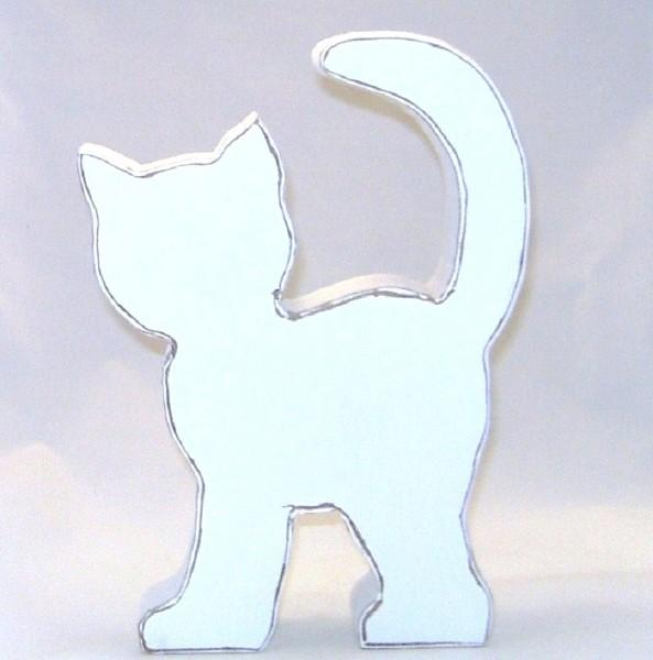 Dekofigur Katze stehend MDF-Holz weiß Shabby Chic Stil