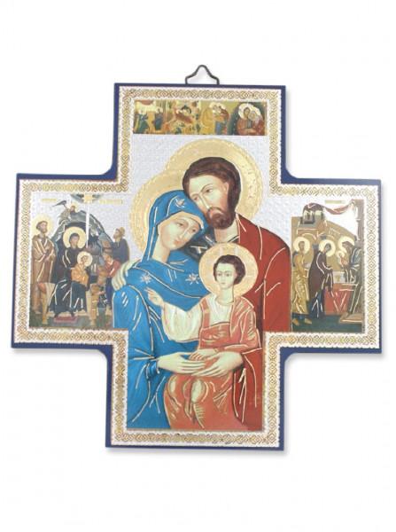Ikone Heilige Familie auf Holzplatte 15x15cm 04/50
