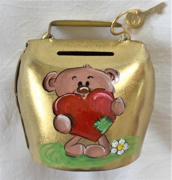 Sparglocke vermessingt, bemalt, Teddy mit Herz
