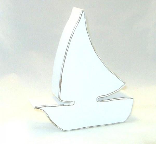Deko Segelboot, klein MDF-Holz weiß im Shabby Chic Stil