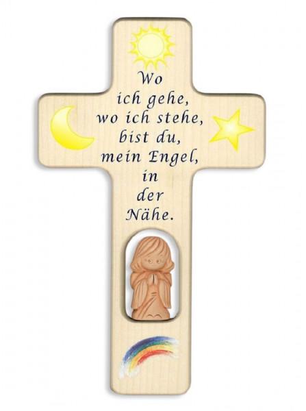 Kinderkreuz Holz mit Tonengel Spruch Wo ich gehe...natur