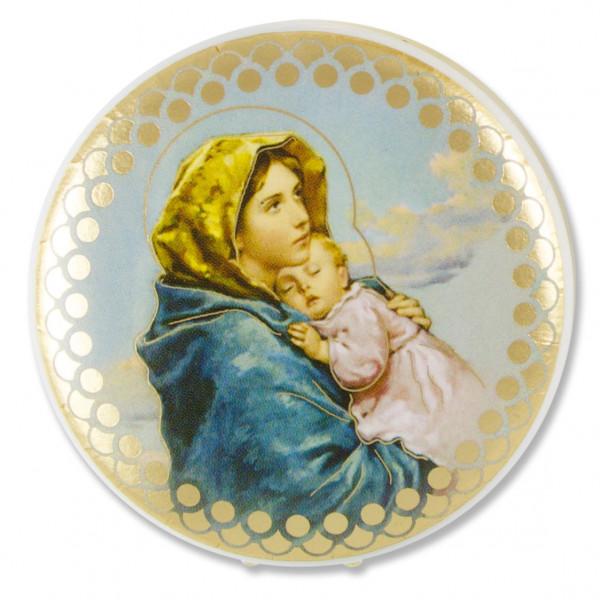 Rosenkranzetui Kunststoff, Motiv Madonna mit Kind