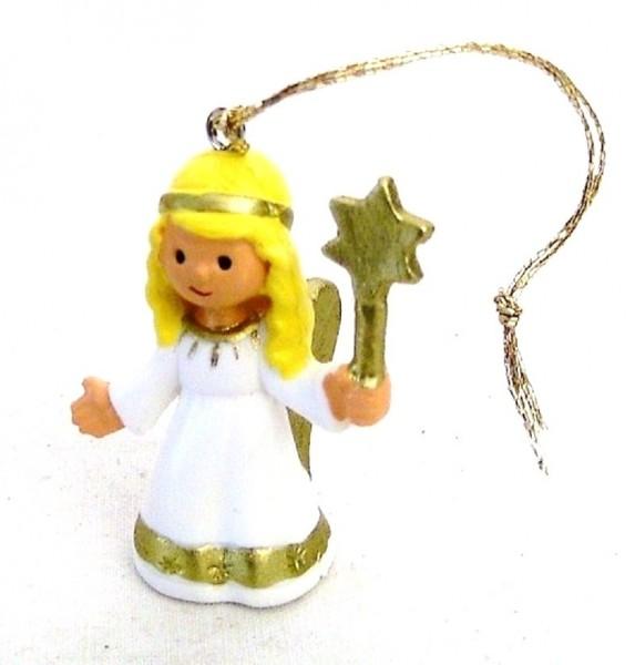Engel mit Stern Plastik Figur Baumaufhänger Baumschmuck