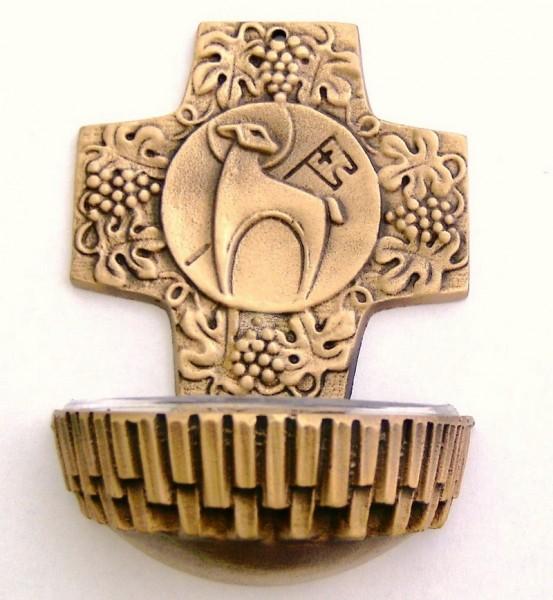 Weihwasserkessel aus Bronze mit Motivkreuz